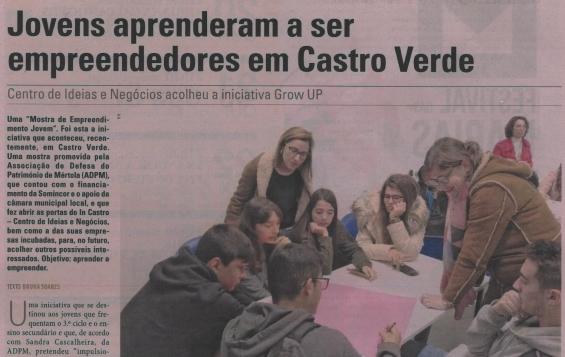 Projeto Grow Up volta a ser destacado no Diário do Alentejo