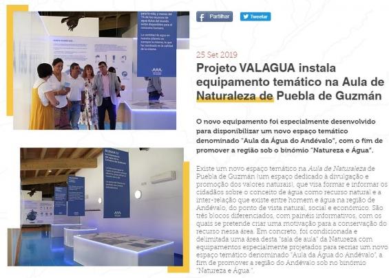 Projeto VALAGUA instala equipamento temático na Aula de Naturaleza de Puebla de Guzmán