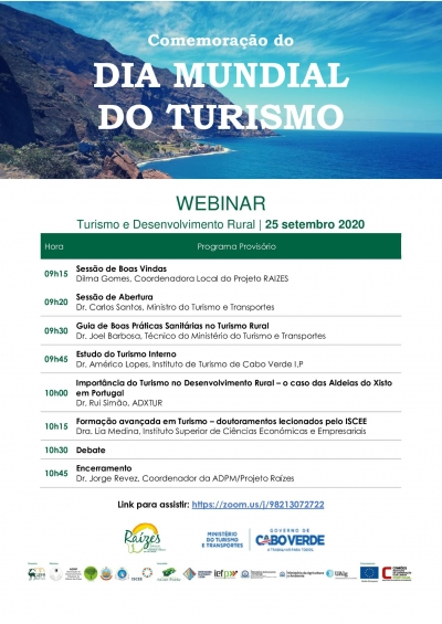 Dia Mundial do Turismo | Webinar Turismo e Desenvolvimento Rural | Cabo Verde